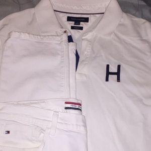 Tommy Hilfiger collar shirt and jeans